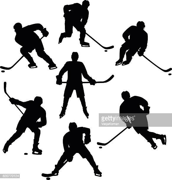 ice hockey seven silhouettes set - hockey stock illustrations, clip art, cartoons, & icons
