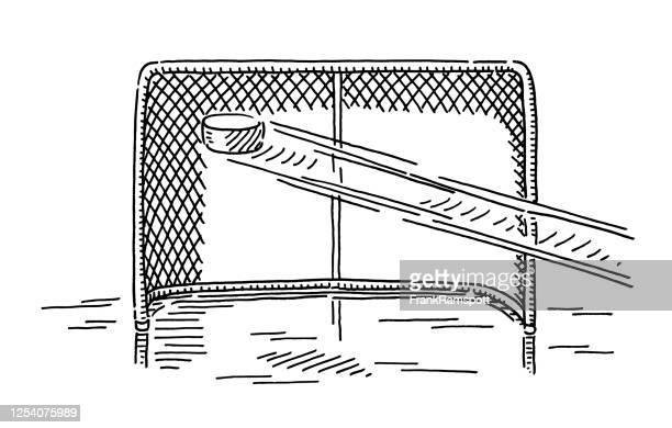 eishockey-schuss auf torzeichnung - tor sportgerät stock-grafiken, -clipart, -cartoons und -symbole