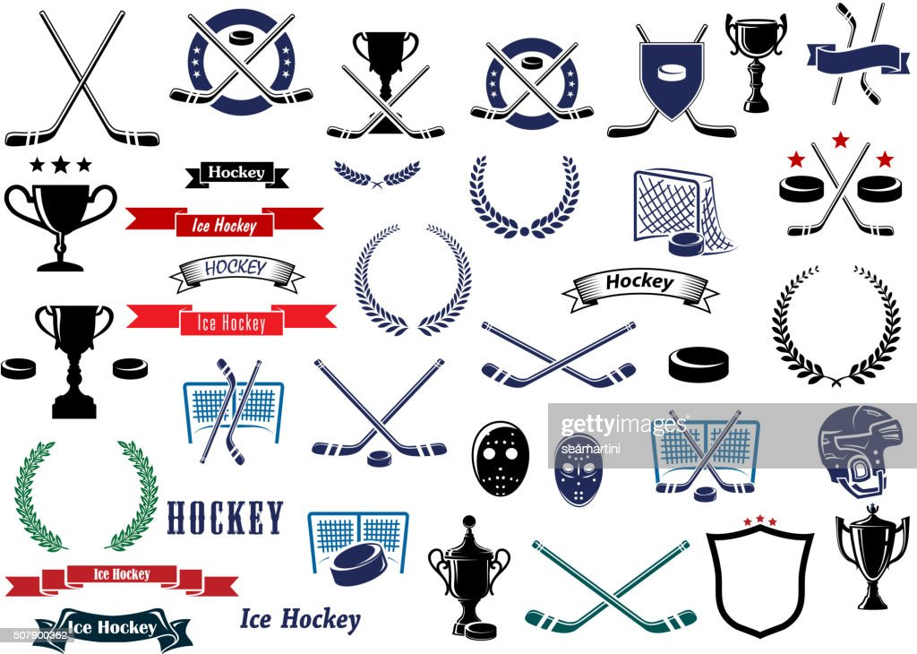 Ice hockey sport game icons and elements