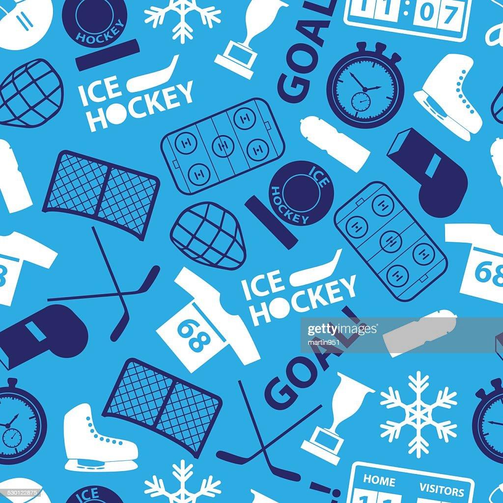 ice hockey sport icons blue seamless pattern eps10