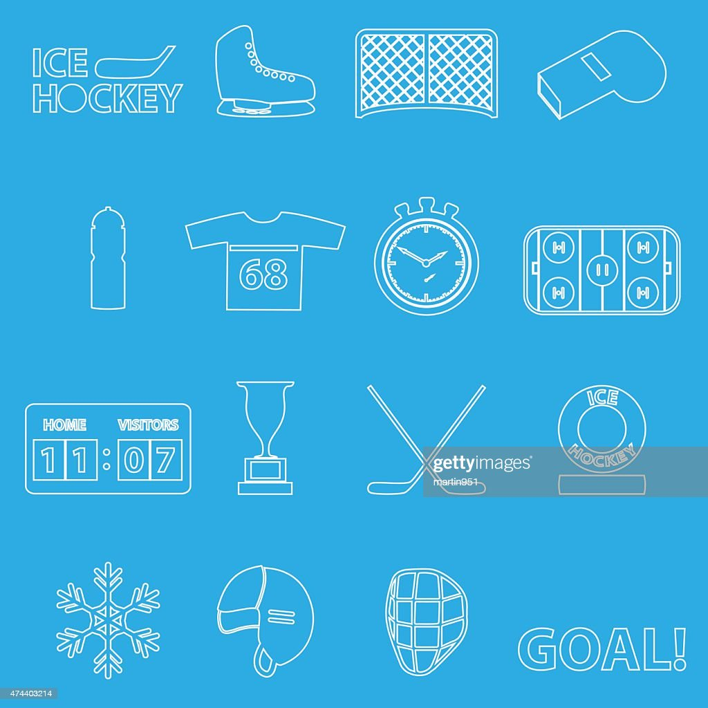 ice hockey sport outline icons set eps10