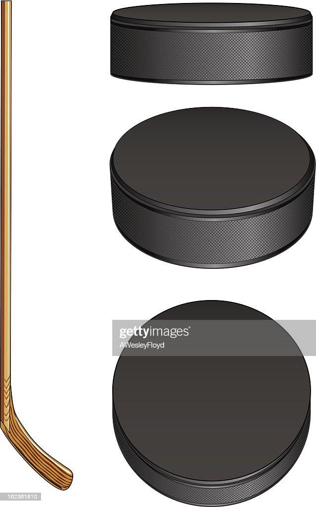 Ice Hockey Stick and Pucks