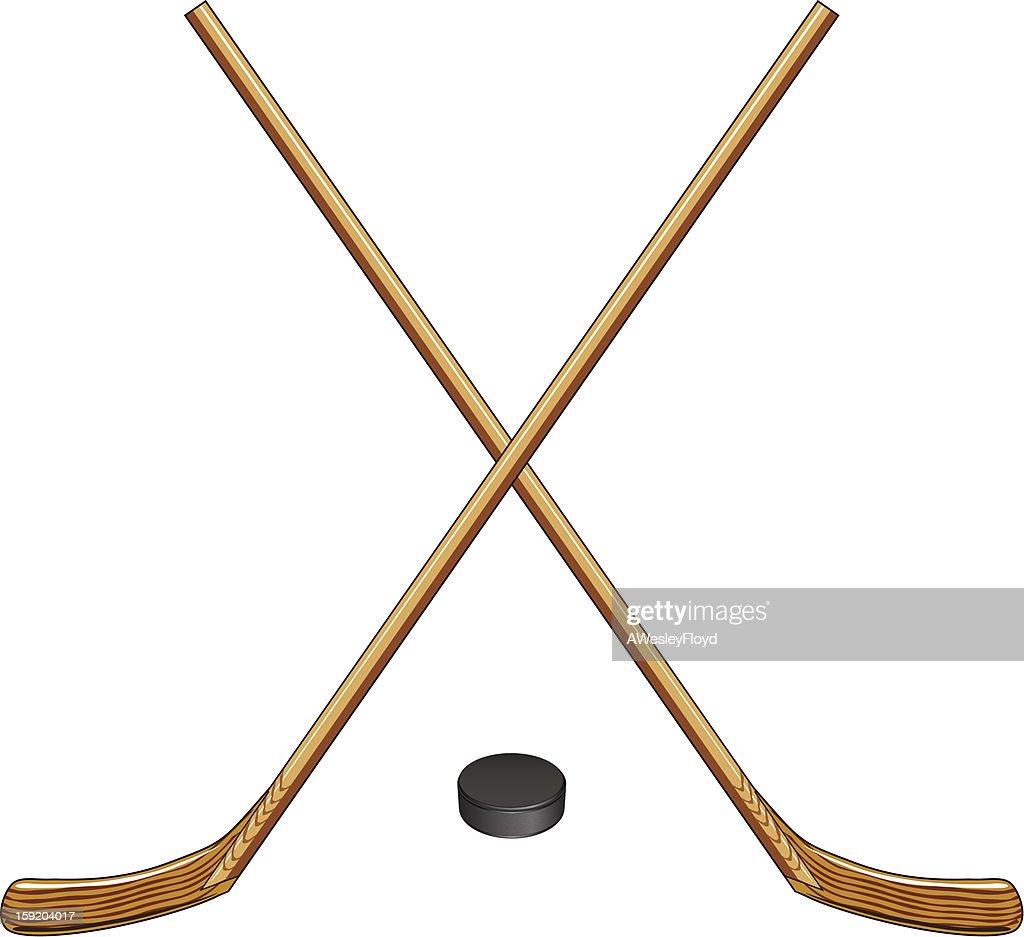 Ice Hockey Sticks and Puck