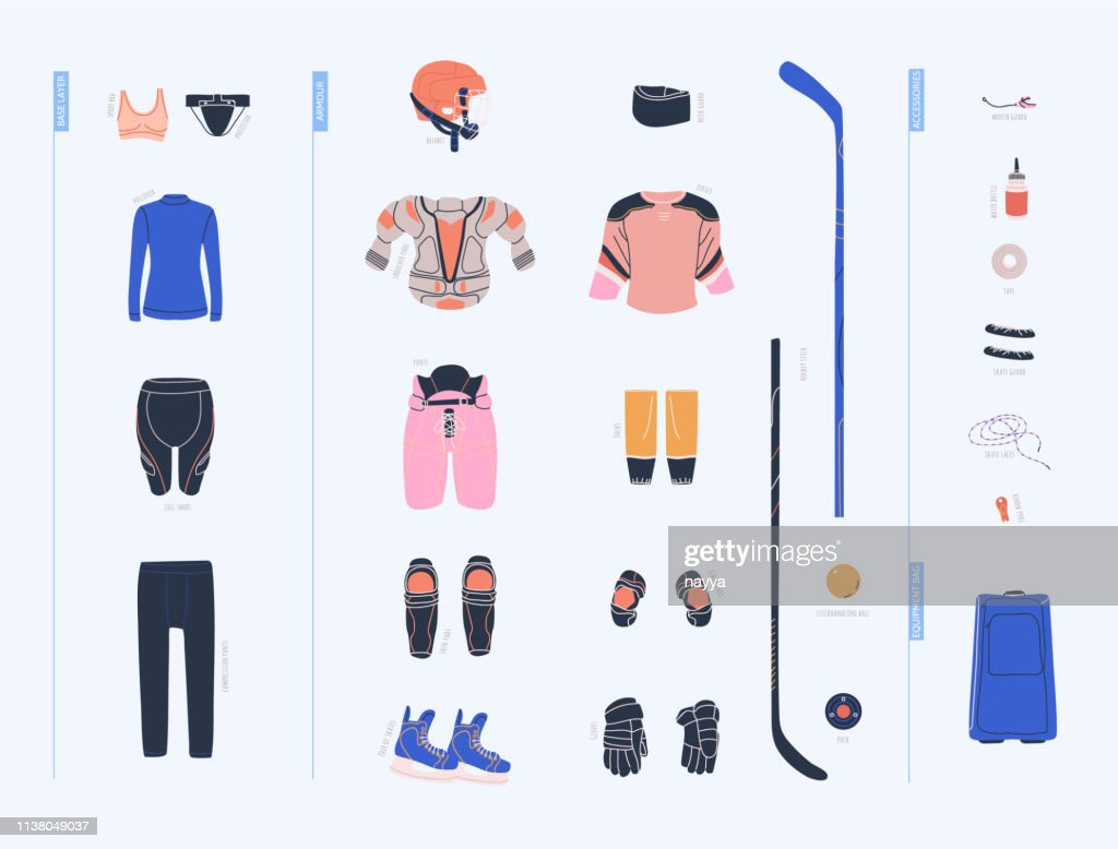 Ice hockey vector colorful collection with female hockey equipment such as under armour clothes, armour, helmet, accesorries, stick, puck and so on