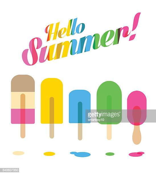ice lollies or popsicles - flavored ice stock illustrations, clip art, cartoons, & icons