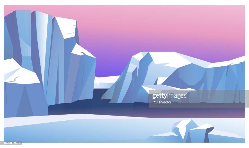 Ice mountain in water vector illustration