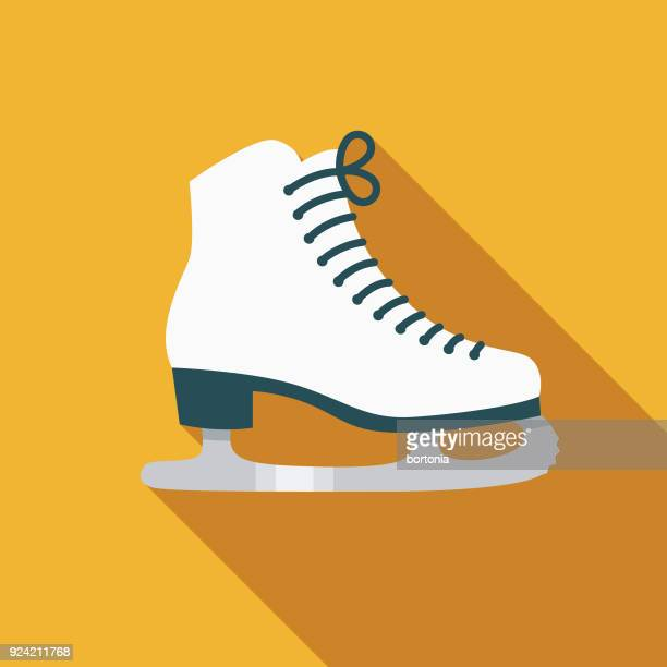 ice skate flat design canadian icon with side shadow - ice skate stock illustrations, clip art, cartoons, & icons