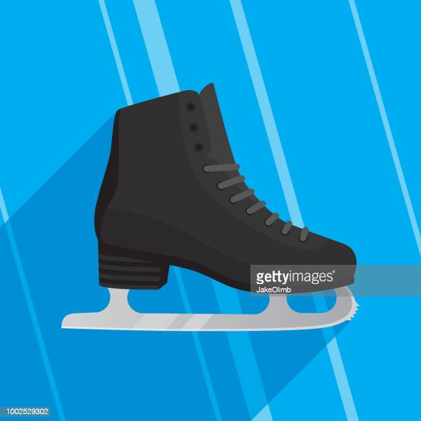 ice skate icon flat - ice skate stock illustrations, clip art, cartoons, & icons