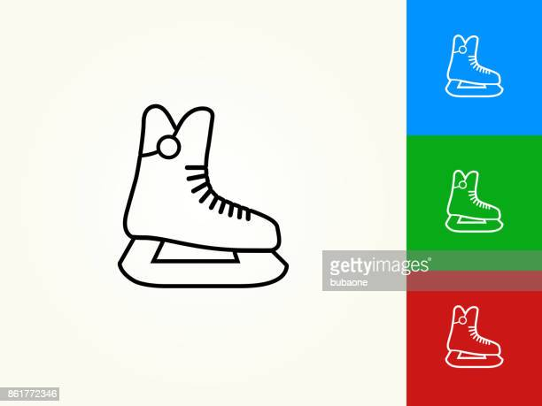 ice skates black stroke linear icon - ice skate stock illustrations, clip art, cartoons, & icons