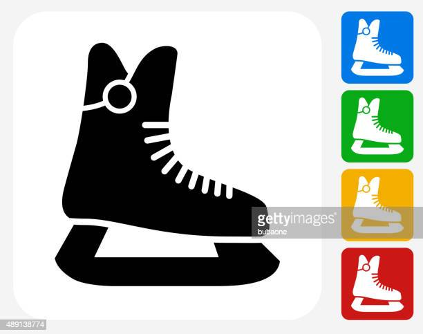 ice skates icon flat graphic design - ice skate stock illustrations, clip art, cartoons, & icons