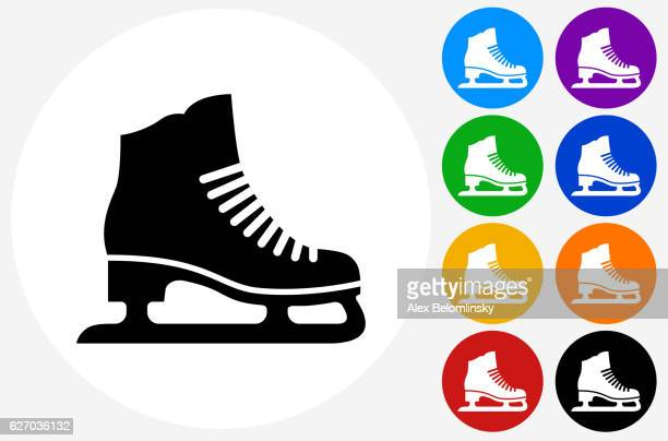 ice skates icon on flat color circle buttons - ice skate stock illustrations