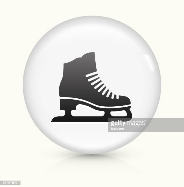 ice skates icon on white round vector button - ice skate stock illustrations, clip art, cartoons, & icons