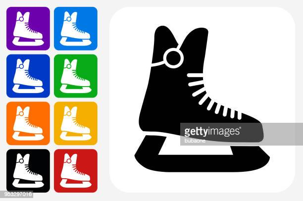 ice skates icon square button set - ice skate stock illustrations