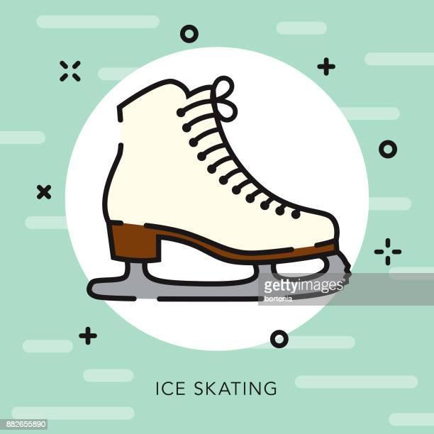 Ice Skates Open Outline Christmas Icon