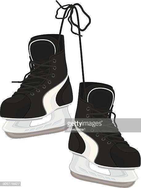 ice skates - hockey stock illustrations, clip art, cartoons, & icons