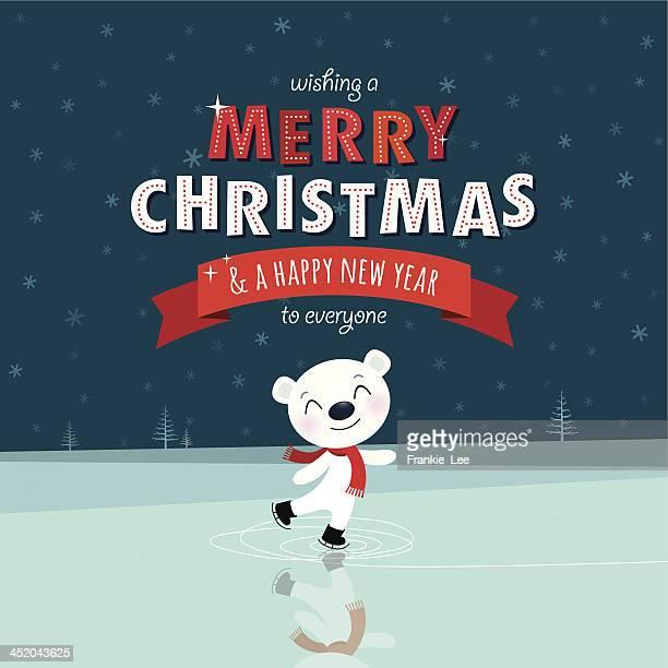 illustrations, cliparts, dessins animés et icônes de patinage sur glace ours - ours polaire