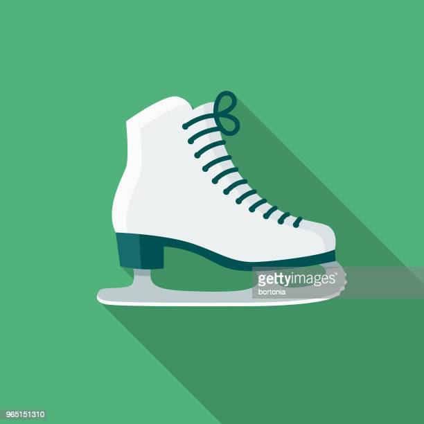 ice skating flat design winter icon with side shadow - ice skating stock illustrations, clip art, cartoons, & icons