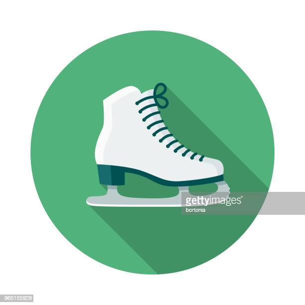 ice skating flat design winter icon with side shadow - ice skate stock illustrations, clip art, cartoons, & icons