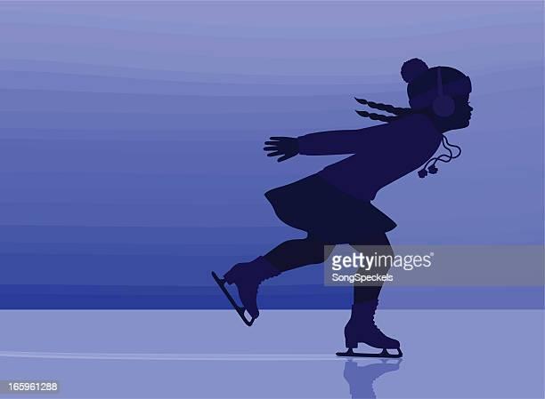ice skating girl - ice skating stock illustrations