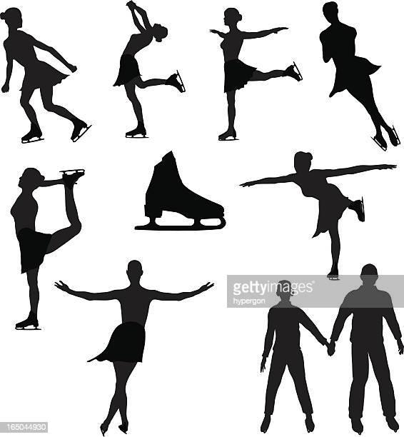 アイススケートシルエットコレクション(ベクトル jpg