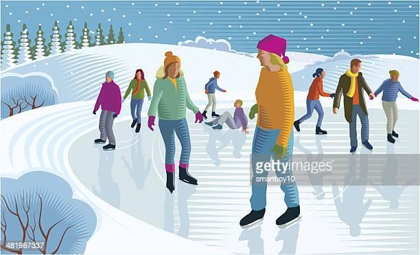 ice skating - ice skating stock illustrations