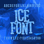 Ice typeface. Alphabet font. Letters and numbers. Abstract blue background.