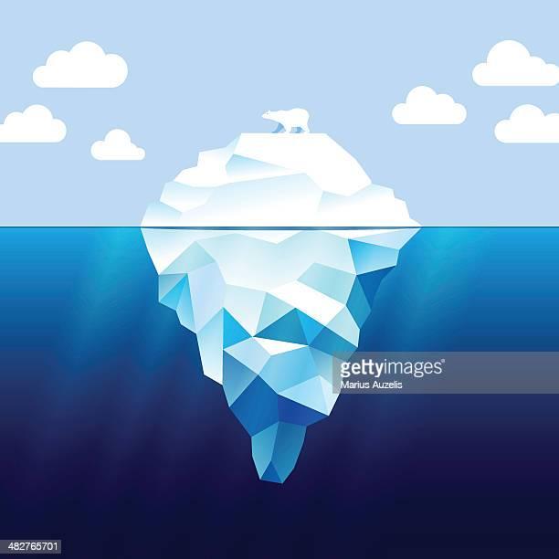 iceberg and white bear - berg stock illustrations