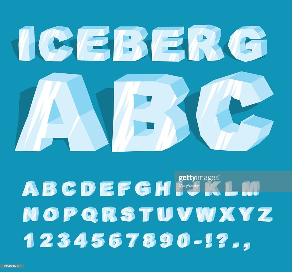 Iceberg font. Ice alphabet. Set of letters from cold ice.