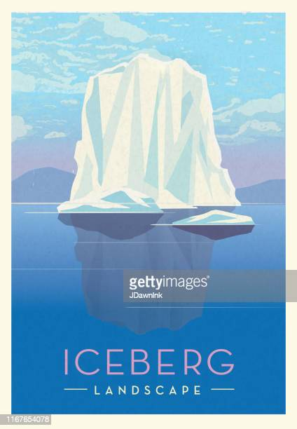 iceberg frozen northern glacier landscape scenic poster design with text - iceberg ice formation stock illustrations