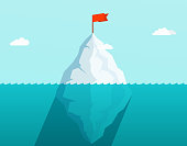 Iceberg in ocean floating in sea waves with red flag on top. Business concept.