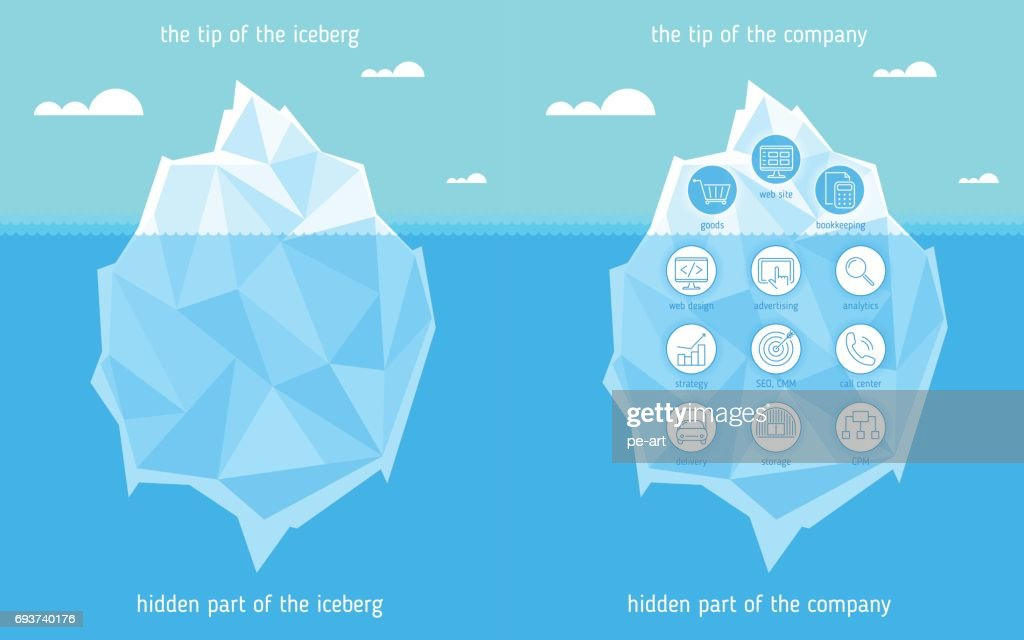 Iceberg infographic template. Vector business concept illustration.