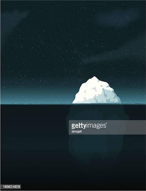 iceberg night - iceberg ice formation stock illustrations