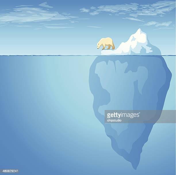 illustrations, cliparts, dessins animés et icônes de iceberg extrémité - ours polaire