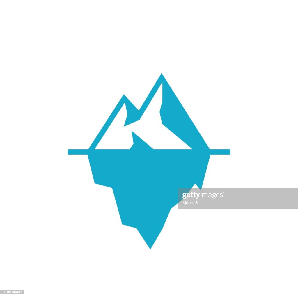 Iceberg underwater vector icon