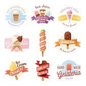 Icecream badges ribbons food sticky, chocolate cold retro dessert vector