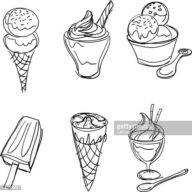 ice-cream collection in black and white - scoop shape stock illustrations, clip art, cartoons, & icons