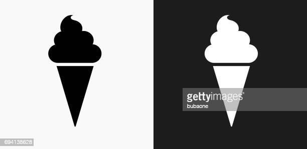 Ice-cream Cone Icon on Black and White Vector Backgrounds