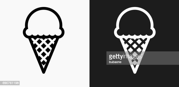 ice-cream icon on black and white vector backgrounds - flavored ice stock illustrations, clip art, cartoons, & icons