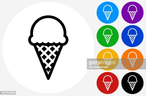 Ice-cream Icon on Flat Color Circle Buttons