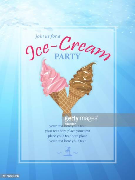 ice-cream party poster - frozen yogurt stock illustrations, clip art, cartoons, & icons