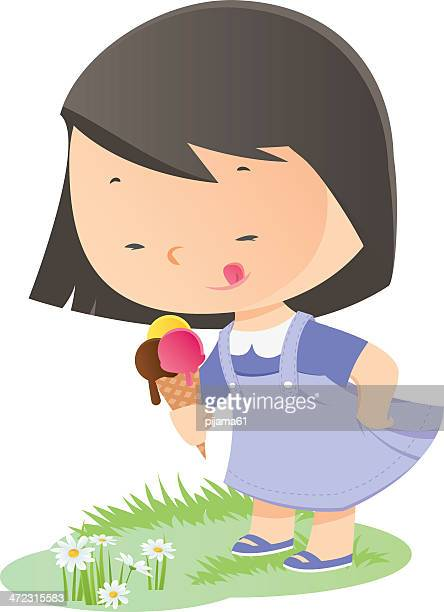 icecream - eating ice cream stock illustrations, clip art, cartoons, & icons