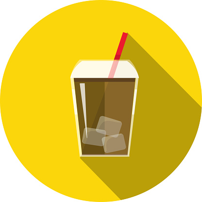 Iced Coffee drink in portable plastic cup Flat Design themed Icon with shadow - gettyimageskorea