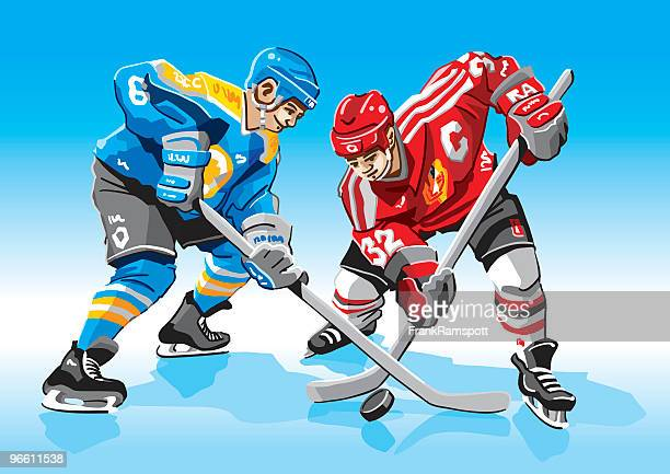 ice-hockey face-off - hockey stock illustrations, clip art, cartoons, & icons