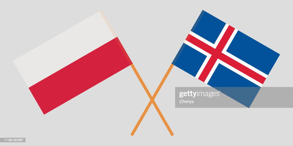 Iceland and Poland. The Icelandic and Polish flags. Official colors. Correct proportion. Vector