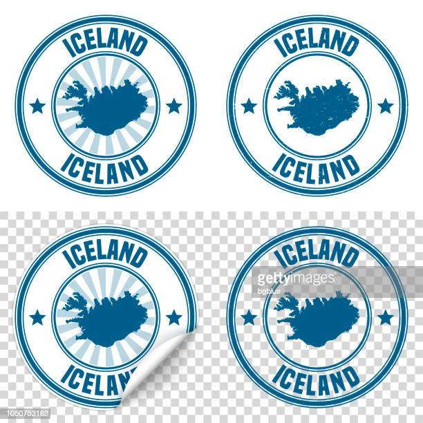 Iceland - Blue sticker and stamp with name and map