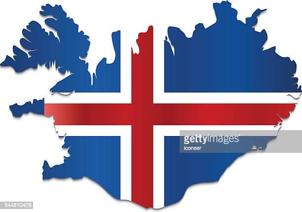 Iceland flag map on white background