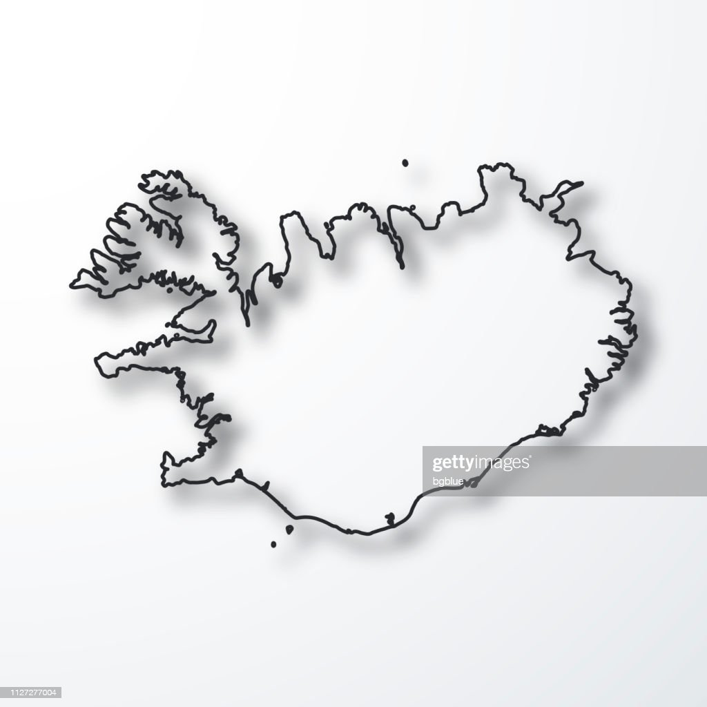 Iceland Map Black Outline With Shadow On White Background ...