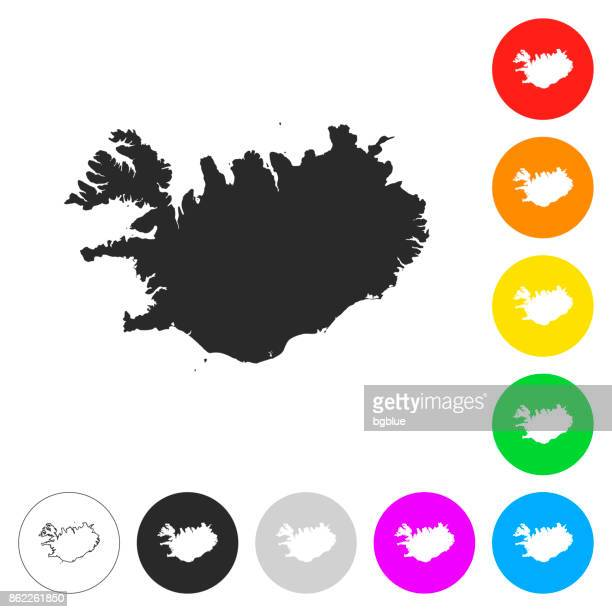 Iceland map - Flat icons on different color buttons