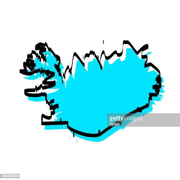 Iceland map hand drawn on white background, trendy design