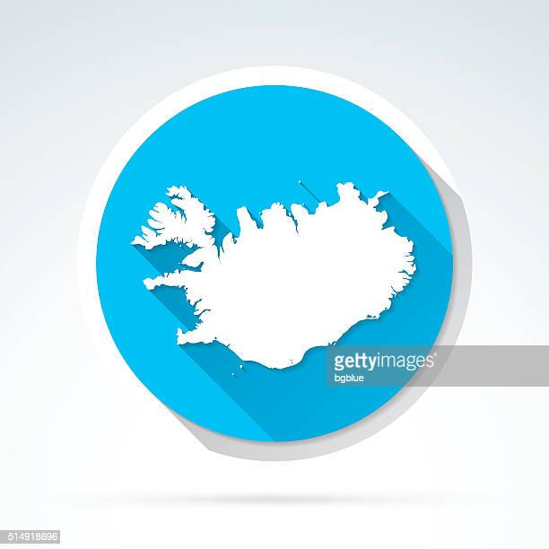 Iceland map icon, Flat Design, Long Shadow